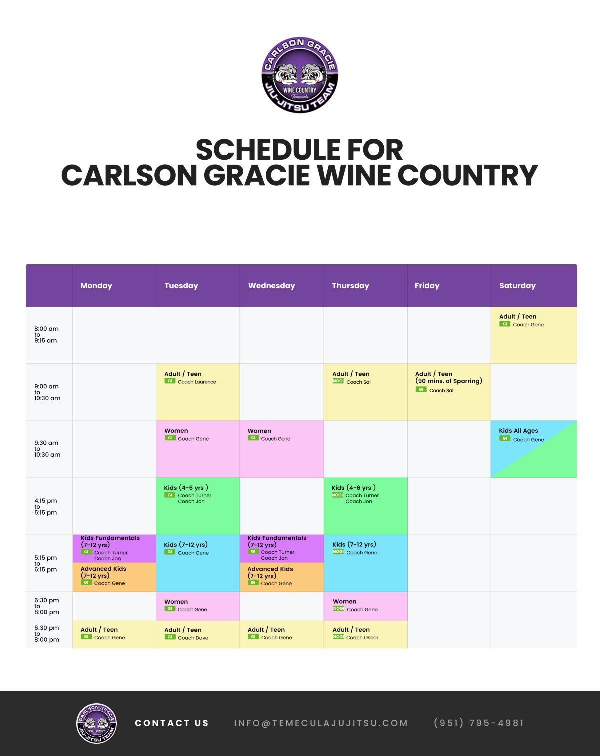 SCHEDULE - Carlson Gracie Wine Country